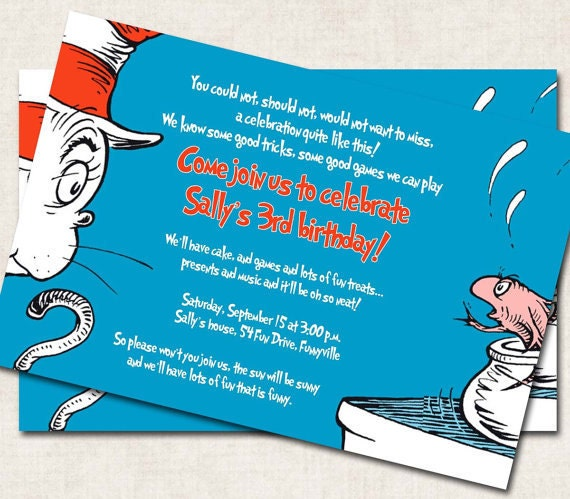 Cat in the Hat Birthday Invitation blue red white Dr. Seuss Digital File you print