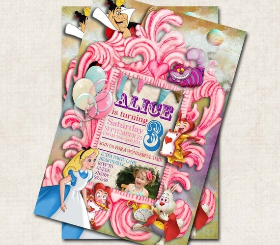Alice in Wonderland Birthday Party Invitation, Cheshire Cat, Queen of Hearts, pink , digital file, you-print