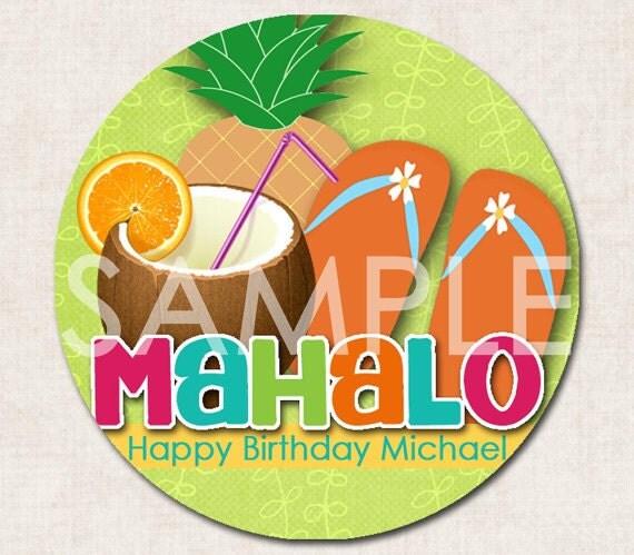 Aloha Luau Gift Bag Tags or Cupcake Toppers, Birthday Party, green orange pink (Digital File)