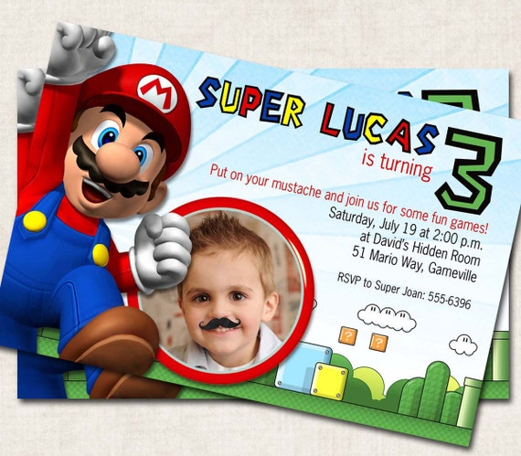 Super Mario Inspired Printable Birthday Invitations, yellow, red, blue, Digital File, you print