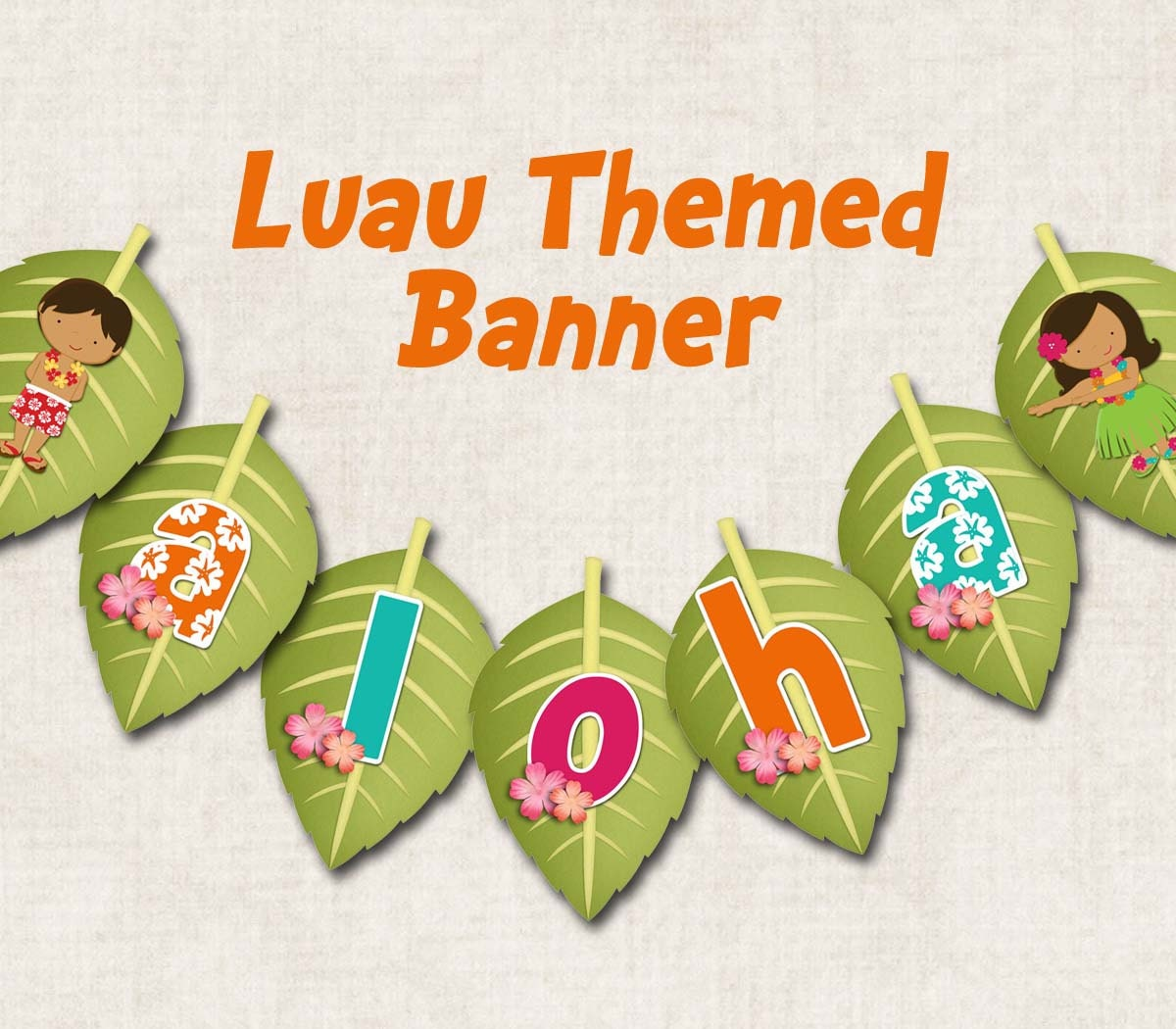 Aloha Luau Birthday Party Banner ALOHA By Missbellaexpressions