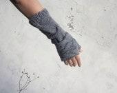 Fingerless warmers set/ Grey Fingerless gloves set/ Rumpled warmers