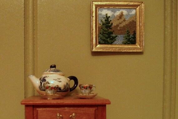 Tiny Mountain Scene - cross stitch for dollhouse