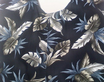 """OOAK, """"one of a kind"""" Male Clothing Protector w/o crumb catcher,  blue and gray leaves on a black background,"""