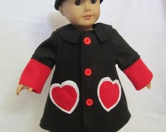 Black fleece swing coat (Heart Coat)