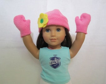 Pink Fleece Hat with Yellow Flower and Mittens