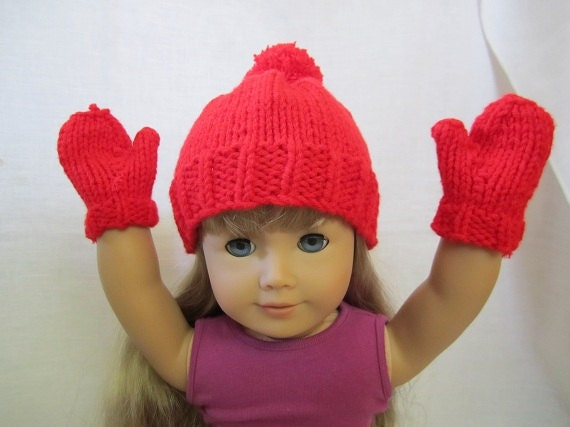 Red Knitted Hat and Mittens