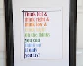 Dr. Seuss Print - The thinks you can think -  Print - 8x10 - Inspirational quote - Children Playroom