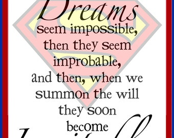 SUPERHERO PRINT - Children art - Inspirational Art - superman - christopher reeve quote - kids room - boys room - superman decor
