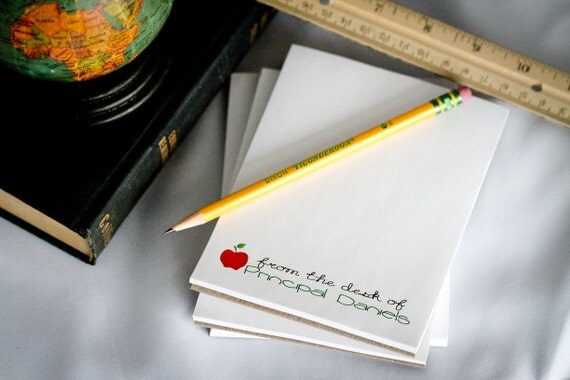 Set of 4 Personalized Teacher Notepad - From the Desk of - Teacher Gifts