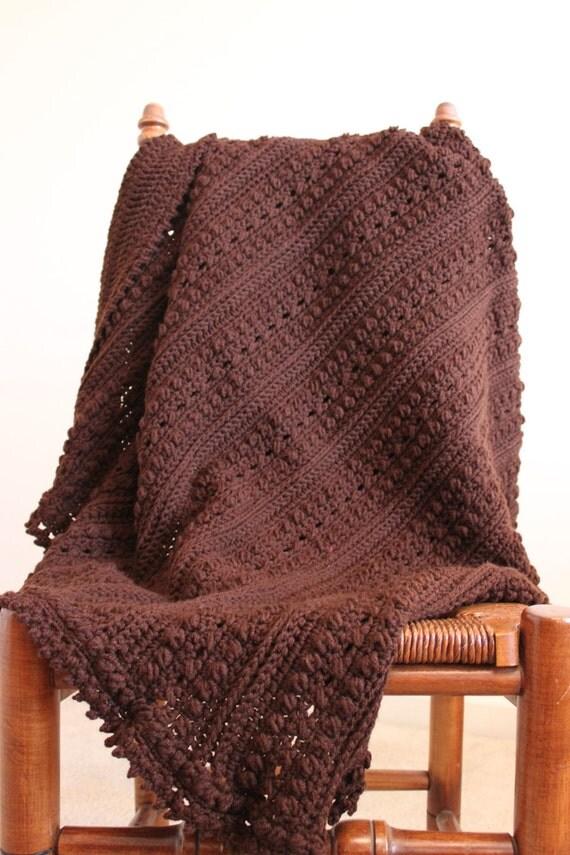 Chocolate Brown Blanket - Crocheted Afghan - Brown Textured Throw