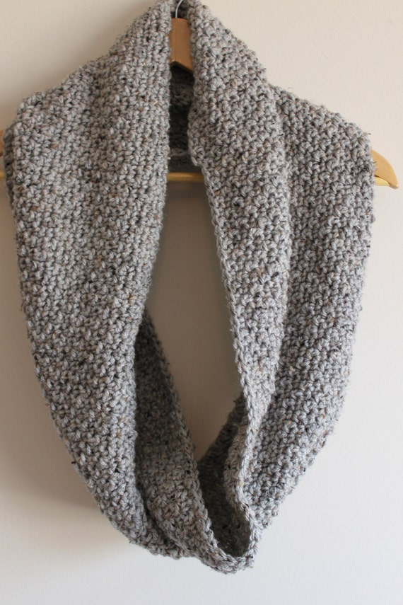 Chunky Gray Marble Cowl -- Infinity Scarf