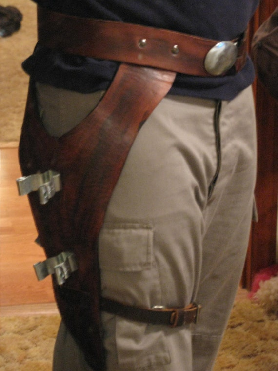 Brown Cowhide Lightsaber Holster Fast-draw Rig with Leg-Tie Right-Handed