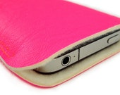 iPhone, cell phone case, iPod, NEON pink faux leather & wool felt