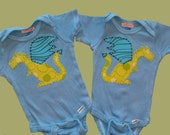 Dragon set- Twin baby shower or birthday gift set shirt or onesie