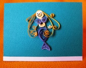 Handmade Mermaid Quilled Card cute turquoise invitations