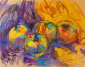Still Life Apples - Original Pastels and Watercolor Painting