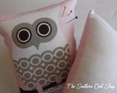 White and brown owl on pink background pin cushion extra large size