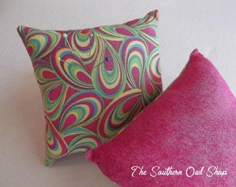 Hot pink, green, yellow and blue mod pin cushion