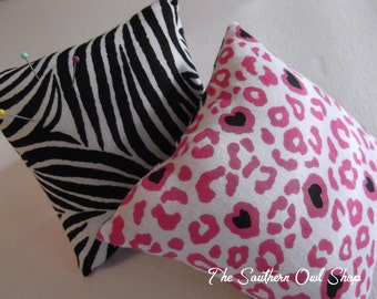 Zebra print with pink cheetah back pin cushion