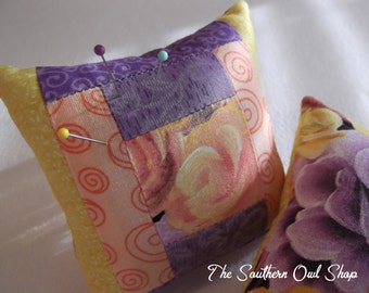 Yellow, purple and peach courtyard steps quilt block pin cushion