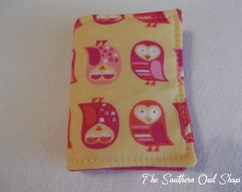 Yellow and hot pink owl print needle book