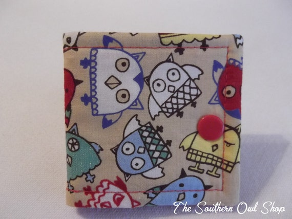 Multi-colored retro owl needle book