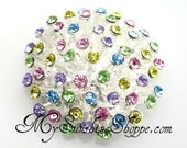 Metal Rhinestone Buttons - 3D button - SMALL 20mm - set of  FIVE - Pastel Rainbow