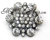 Metal Rhinestone Buttons - Hexagon - 26mm - set of  FIVE - Crystal Stones