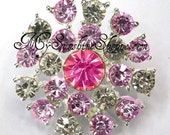 Metal Rhinestone Buttons - Sunburst - 20mm - set of  FIVE - Pink and Clear Stones