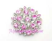Metal Rhinestone Rhinestone Petal Buttons - Small 20mm - set of  FIVE - PINK and CLEAR Stones
