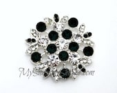 Metal Rhinestone Rhinestone Petal Buttons - Small 20mm - set of  FIVE -BLACK and Clear Stones