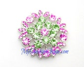 Metal Rhinestone Rhinestone Petal Buttons - Small 20mm - set of  FIVE - PINK and LIME Stones