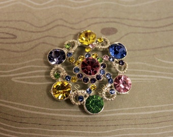 Rhinestone Buttons, metal - Vintage Ferris Wheel Button - 26mm SET OF FIVE - rainbow