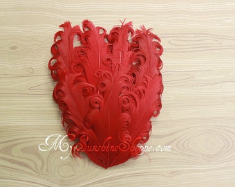Christmas nagorie Feather Pad - Set of 2 - Solid Red