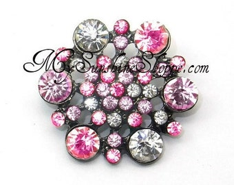 Metal Rhinestone Buttons - Hexagon - small 16mm - set of  FIVE - Pink and Clear Stones