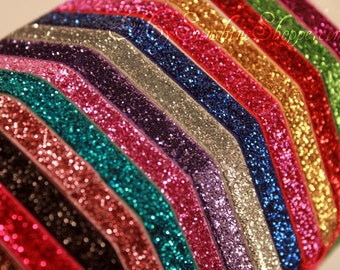 3/8th inch Stretch glitter elastic - 5 yards - you choose color