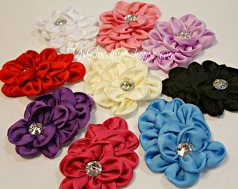 Satin BLING Flowers - set of 4 - you choose colors