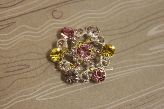 Metal Rhinestone Buttons - Vintage Ferris Wheel Button - 30mm SET OF FIVE - yellow and pink