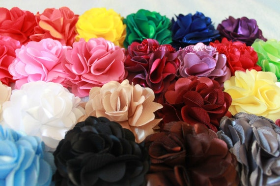 SILKY Satin Mesh Flowers -  2.8 inch - set of 25