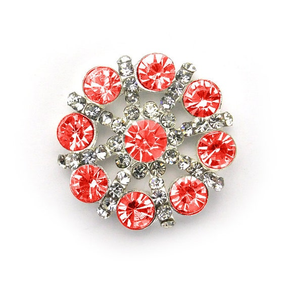 Metal Rhinestone PinWheel Buttons - Medium 26mm - set of  FIVE - Red and clear Stones