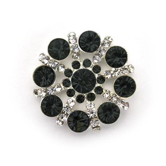 Metal Rhinestone PinWheel Buttons - Medium 26mm - set of  FIVE - Black and clear Stones