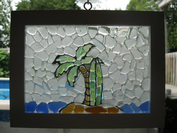 Surfboard Island Sea Glass Mosaic