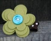 Felt Flower Hair Clips - Green - No Slip Grip - Alligator Clip for Baby Toddler Girls