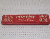 Vintage Red Playtime Water Colors Tin Binney and Smith