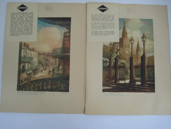 Vintage Illinois Central New Orleans Prints Collection of 8