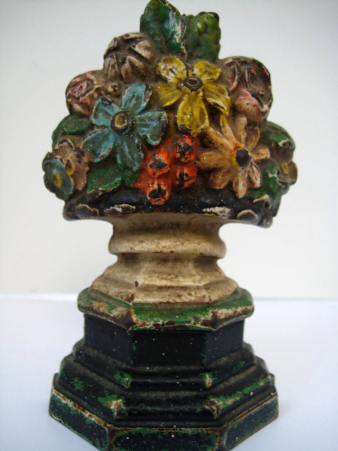 Antique Cast Iron Door Stop With Flowers By Mybarn On Etsy