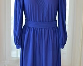 Vintage Royal Blue Day Dress / Size Large / 1980s Dress