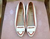 Vintage White and Red Van Eli Loafer Heels / 1980s Heels