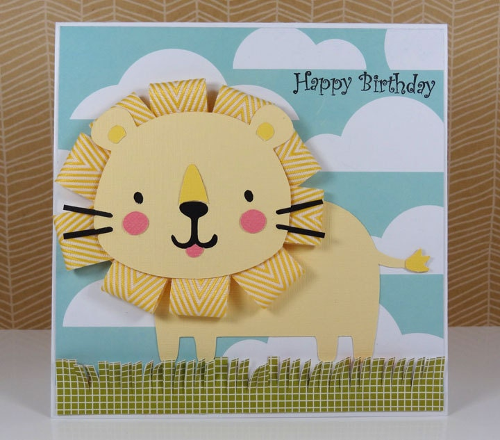 Printable Birthday Party Invitation Card Detroit Lions: Lion Birthday Card Or Invitation Handmade